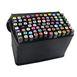 40 Colors Dual Tip Marker Pen Waterproof Professional for Arts Sketch Coloring Books Painting Manga and Design (40 Pcs, Black)