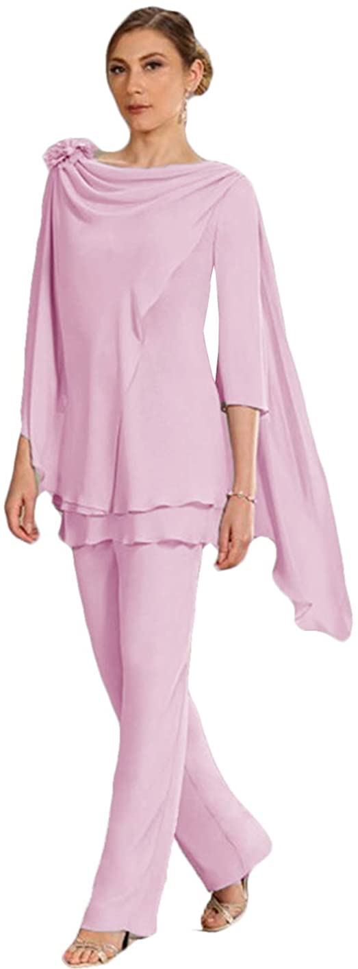 WZW 2 Pieces Mother of The Bride Groom Pant Suits 3/4 Long Sleeves Chiffon for Wedding Party Gowns