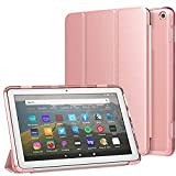 MoKo Case Fit All-New Kindle Fire HD 8 Tablet and Fire HD 8 Plus Tablet (10th Generation, 2020 Release) Case, Soft TPU Translucent Frosted Back Cover Slim Smart Shell, Auto Wake/Sleep - Rose Gold