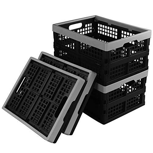 Ikando Porta Bucato Scatola Cassette Pieghevoli Impilabili Portatili in Plastica, Set da 4