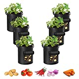Adorma 6-Pack 10 Gallon Potato Grow Bags, Heavy Duty Fabric Pots with Handles,300G Thickened Nonwoven Pots for Plants