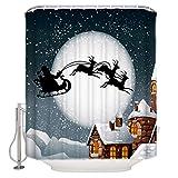CHARMHOME Weihnachtsmann Rentier Motiv Bild Stoff Badezimmer Duschvorhang Duschringe enthalten Frohe Weihnachten Weihnachten Heiligabend 182,9 x 182,9 cm