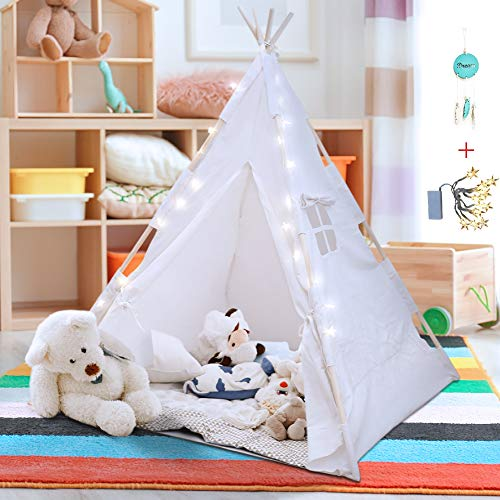 Teepee Tent for Kids with LED Star Lights, Floor Mat, Dream Catcher, Carry Bag - Strong Indoor Tee Pee Tent -Toddler Play Tent for Boys & Girls - Sturdy Children Tent -The Perfect Tipi Tent Kids Love!