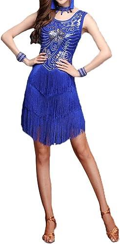 Robe de danse pour femmes Femmes paillettes paillettes embellies frange flapper robe de danse latine sans hommeches gland concours salle de bal vêtements de danse danse party perforhommece costume Jupe de