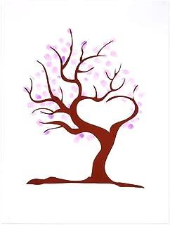Canyita Árbol de Huellas Dactilares, 4 Tipos de Lienzo de árbol de Huellas Dactilares/Huellas Dactilares Firma Personal del invitado a la Boda (Tinta de 6 Colores)(HK020)