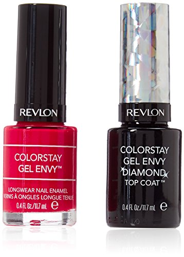 Revlon ColorStay Gel Envy Longwear Nail Polish, with Built-in Base Coat & Glossy Shine Finish, 620 Roulette Rush and Diamond Top Coat, 0.4 oz (2 pack)