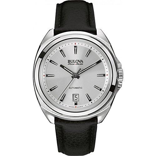 Bulova Accu Swiss Manchester United63B184 orologio automatico da uomo, quadrante argento, display analogico e cinturino in pelle nero