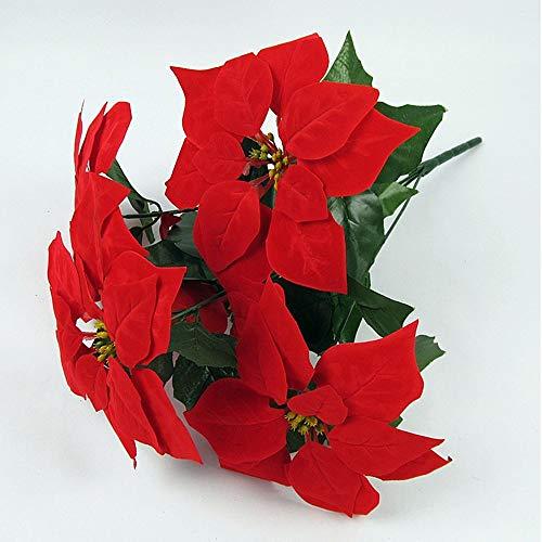 GHWZ Kunstbloemen 1 tak fake bloem planten decora klassieke Europese kerstster tafelblad bloem, voor huwelijk, Kerstmis, Nieuwjaar, Valentijnsdag, party, Moederdag rood