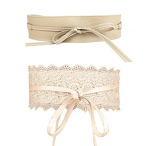 Jurxy, 2 confezioni da donna con fiocco, in pizzo, cintura a fascia larga da donna, con fiocco, in finta pelle, stile bohémien, colore beige