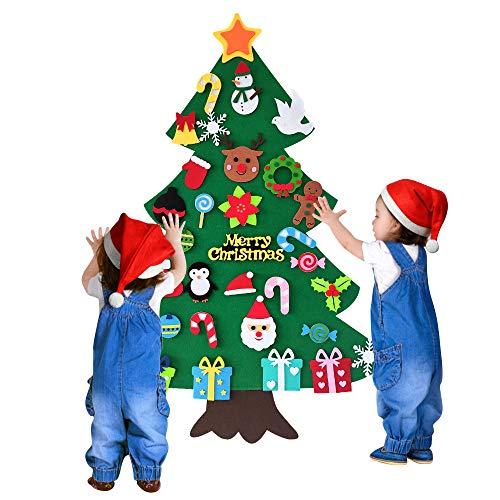 Felt Christmas Tree Decoration Kids 34 PCS DIY Christmas Tree Ornaments Wall Hanging 3.1ft Family 3D Xmas Tree Set for Toddlers Xmas Gifts Home Door Wall Decoration