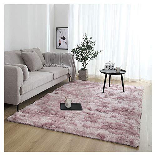 YAOTT Minimaliste Moderne Moelleux Doux Carpettes pour Chambre,Shaggy Confortable Moquette Anti-dérapant épais Tapis de Salon Pink Violet 140 * 200cm