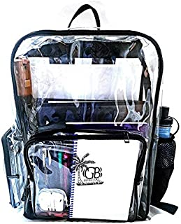 GBspecial Clear Backpack, Heavy Duty Clear Backpack for Adults with Reinforced Straps Student Book Transparent Bag Backpack for School, Security, Stadiums, Work