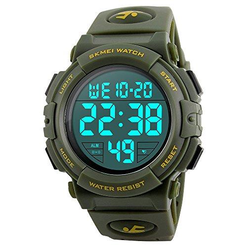 Arkhasa Original Skmei1258 Waterproof Multi Function Army Green Digital Sports Watch for Men