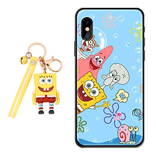 Samsung Galaxy A10E Case Spongebob Squarepants Cute Cartoon Funny Design [with 3D Keychain], Soft Silicone Flexible TPU Sponge Patrick Kid Phone Case for Samsung Galaxy A10E