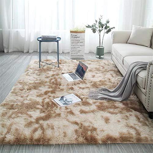 EXQUILEG Kurzflor Teppiche für Wohnzimmer, Fluffy Shaggy Super weicher Teppich Geeignet als Schlafzimmerteppich Home Decor Kinderzimmer Teppiche Kids Mat (Khaki,60 * 120 cm)