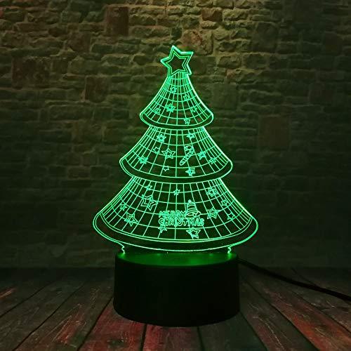 LWJZQT nachtlampje kerstboom klok ster paraplu 3D 7 kleuren dimmen Flash LED nachtlampje huis Roon Decor kind familie geschenken