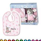 Sterntaler Baby Geschenkset, BESTICKT mit Namen (personalisiert) zur Taufe, Geburt, Geschenkbox, Geschenkidee (Emmi Girl), Geschenk für Babys/Neugeborene (Mädchen).