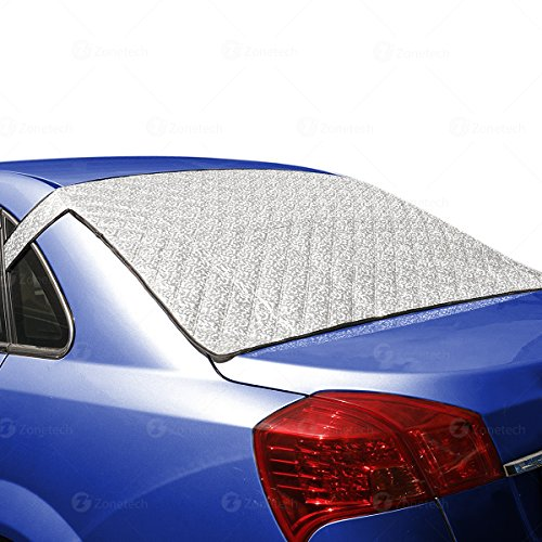 Zone Tech Car Rear Windshield Snow Ice Cover Protector with Flaps - All Weather Premium Quality Summer Winter Shield Protector