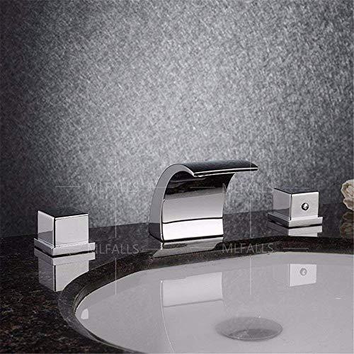 SCLL - Cascada de latón cromado en forma de cascada de agua fría y caliente en dos asas, tres orificios de válvula de cerámica para grifo de bañera/grifo para fregadero/grifo para bañera/mezclador de baño/baño