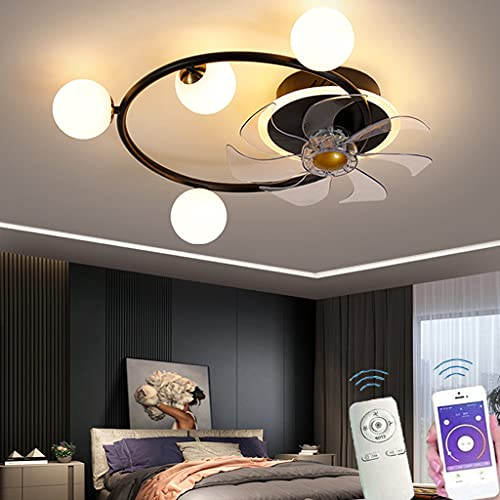 Deckenventilator Mit Licht, Kronleuchter Mit Fernbedienung ABS Lüfterflügel Einstellbare Farbtemperatur Windgeschwindigkeit Leiser Energiesparventilator Für Wohnzimmer Schlafzimmer Küche (Black)