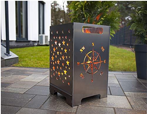 tuning-art FK01 Feuerkorb Feuertonne Feuerschale Steckbar Groß 50x30x30, Größe:Windrose 45L