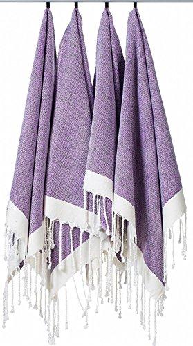 "(Set of 4) Unique Hand Face Towel Set 100% Turkish Cotton 20""x31"" Pestemal Peshtemal Fouta Kitchen Bath Spa Pool Massage Sauna Beach Yacht Fitness Yoga Picnic Beach Travel Light Baby Unisex - Purple"