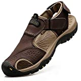 VISIONREAST Mens Leather Sandals Closed Toe Outdoor Hiking...