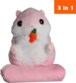 AIXINI 3 in 1 Cute Plush Hamster Throw Travel Pillow with Folded Blanket Set Cartoon Stuffed Animal Toys Multifunctional Decorative Travel Nap Quilt 2 in 1 for Kids, Adults (Pink)