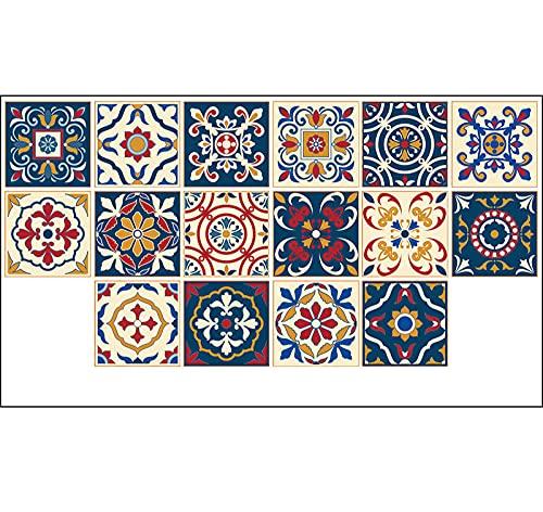 Pegatinas para azulejos de azulejos de colores, impermeables, autoadhesivas, retro, cuadradas, para decoración de muebles de cocina, baño, 20 cm x 20 cm x 16 unidades