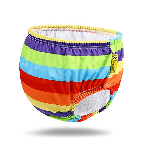 Free Swimming Baby Reusable Absorbent Swim Diaper Four Size for Your Choice (L, Rainbow)