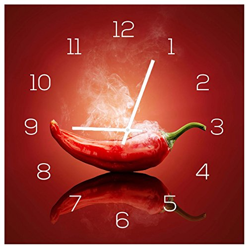 levandeo Wanduhr aus Glas 30x30cm Uhr als Glasbild Küche Gewürze Hot Chili Peperoni Deko Küchenuhr