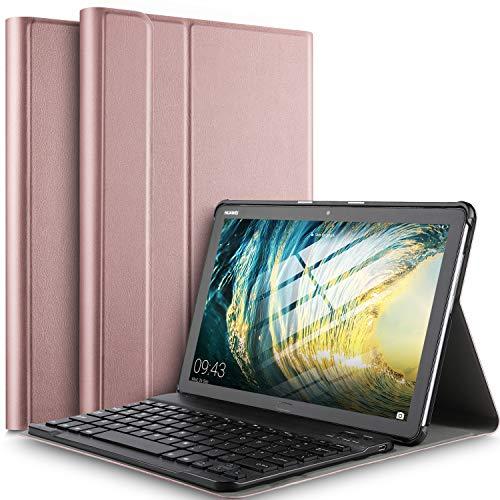 IVSO Tastatur Hülle für Huawei MediaPad M5 Lite 10, [QWERTZ Deutsches], Superdünn Ständer Schutzhülle mit magnetisch abnehmbar Wireless Tastatur für Huawei MediaPad M5 Lite 10.1 Zoll 2018, Rosegold
