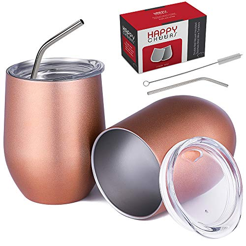 Happycheers with Lid-12 Oz Vacuum Insulated Metal Water Glasses Set of 2 for Coffee Drink Cocktail Outdoor Travel?with Box, 12 oz - 2 pack, Rose Gold