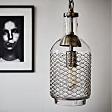 CASAMOTION Industrial Edison Vintage Hand Blown Glass Pendant Light, 1...