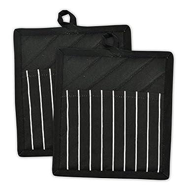 DII 100% Cotton, Machine Washable, Everyday Kitchen Basic, Chef Stripe Commercial Grade, Restaurant Quality  Pot Holder Set of 2, Black