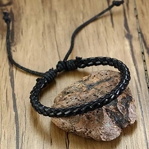 Pulsera Hombre Hombres Pulseras Set Wrap Bracelet Negro Marrón Brazaletes Hombre-17