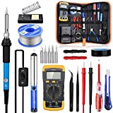 Tin Soldering Irons, SREMTCH 220V 60W Electric Soldering Iron Kit with 200-450 ℃ Adjustable Temperature Tool Box, Digital Multimeter Electronic Soldering Set, Soldering Iron Tips etc