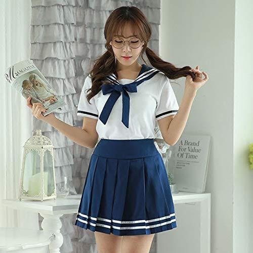 CLJ-LJ Uniformi Scolastiche Giapponesi Anime Cos Divisa da Marinaio Tops + Tie + Skirt Stile JK Navy Studenti Vestiti for Donne della Ragazza Manica Corta XXXXL