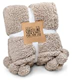 Plush Throw Blanket, Ultra Soft Plush Blanket, Fuzzy Blanket   Thick Pom Pom Throw Blanket   Premium Fleece Blanket, Fine Hypoallergenic Microfiber (Full Size, 60' x 49) (Teddy Tan)