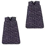 Hudson Baby Wearable Safe Soft Jersey Cotton Sleeping Bag, Midnight Stars 2-Pack, 0-6 Months