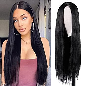 HMD Long Black Wigs for Women Middle Part Long Straight Wig Synthetic Natural Full Wig Heat Resistant Fiber Wig for Daily Party Black 30 Inch