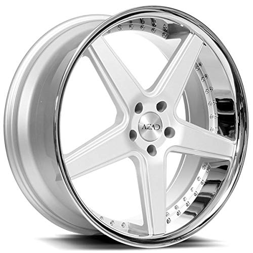 Azad AZ008 – 20 Inch Staggered Rims – Set of 4 Silver Brushed with Chrome Lip Wheels – Sports Racing Cars – For Challenger, Charger, Mustang, Camaro, Cadillac and More (20x8.5 / 20x10) – Car Rim Wheel