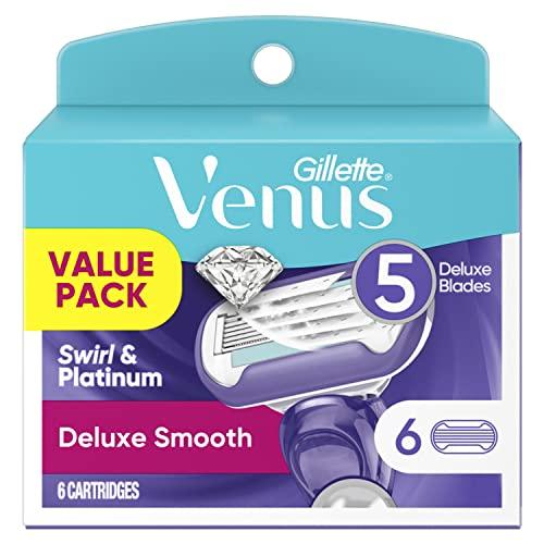 Gillette Venus Extra Smooth Razors for Women, 1 Venus Razor Handle Plus 6 Five-Bladed Razor Cartridge Refills