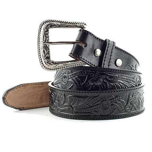 STARS & STRIPES - Cinturón unisex de cuero negro hecho a mano con grabados y hebilla intercambiable - Talla 120 cm