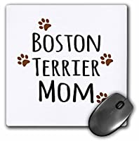 3dRose 8 x 8 x 0.25 Inches Mouse Pad, Boston Terrier Dog Mom (mp_154081_1) [並行輸入品]