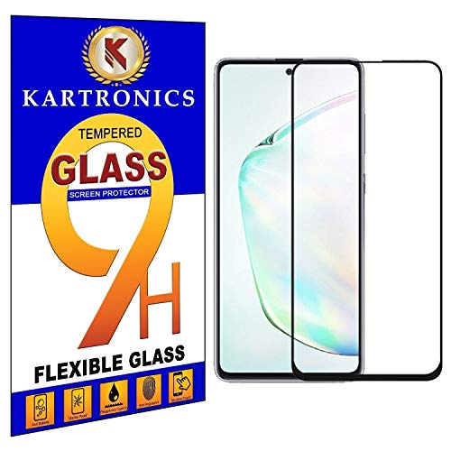 Kartronics Compatible with (Pack of 3) Samsung A71/A80/A81/A90/Note 10 Lite [Black] 5D/6D/11D/21D Premium Tempered Glass Screen Protector Slim 9H Hard 2.5D with Full Installation Kit and Warranty