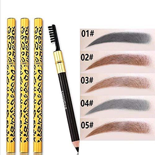 Crayon à sourcils professionnel, formule non collante définissante pour une finition soignée parfaite, pinceau cosmétique imperméable à l'eau pour le léopard noir et le brun noir Formule sans tache