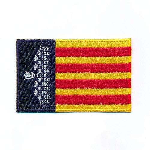 Hegibaer 30 x 20 mm Palma de Mallorca vlag Balearen patch opstrijkmachine 1121 Mini