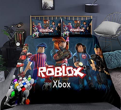 Neighbor Axin Roblox Juego de funda de edredón 3D HD Roblox (incluye 1 funda de edredón y 2 fundas de almohada) Juego de cama Roblox 100% microfibra para niños y niñas (R5, tamaño 260 x 220 cm)