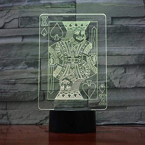 Lámpara de ilusión 3D Luz de noche LED Creativa USB Magician Decoración Texas Hold Em Dice Poker Spade Naipes 7 colores que cambian Los mejores regalos de cumpleaños para niños